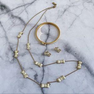 kate spade gold cream Take a Bow jewelry set